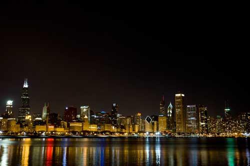 ミシガン湖から見るシカゴの夜景(Chicago night view)