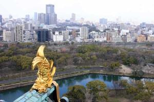 大阪城の8階展望台から見える金の鯱