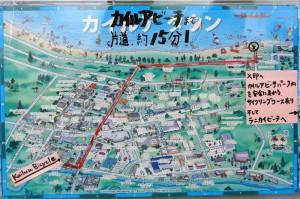 カイルアタウンの地図。カイルアタウンのおしゃれなショップや食事だけなら歩いて散策することも可