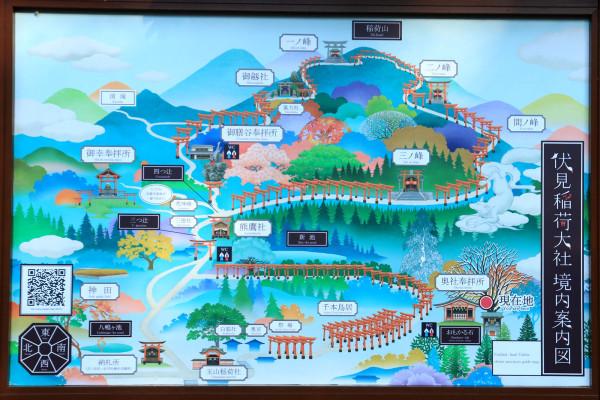 稲荷山のお山巡りの案内地図