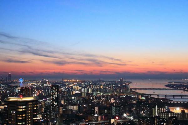 空中展望台 夕方の写真撮影