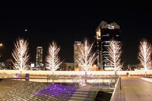 夜の大阪駅周辺はライトアップされていて綺麗