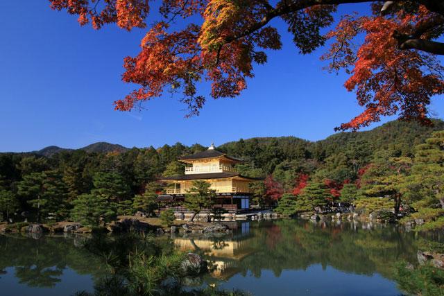 金閣寺の紅葉 逆さ金閣 Kinkaku