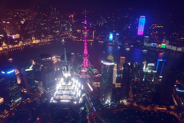 上海環球金融中心の展望台から見る夜景