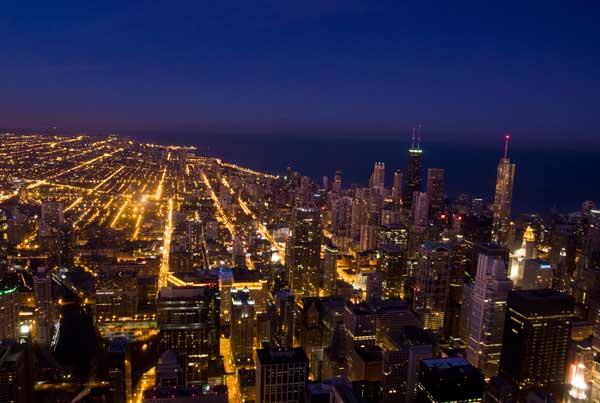 シカゴの夜景 ウィリス・タワーからの夜景
